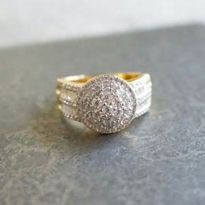 Cubic Zirconia 18kt Yellow Gold Over SS Ri…